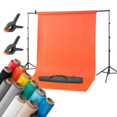 2,7 x 5 m background + background support kit - chosen color FreePower