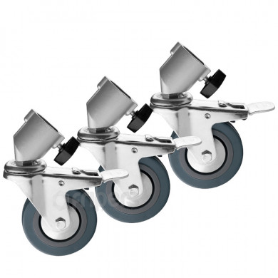 Set of 3 wheels with Brakes for 22mm stand legs FreePower