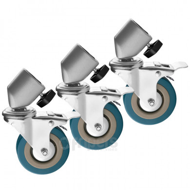 Set of 3 wheels with Brakes for 25mm stand legs FreePower