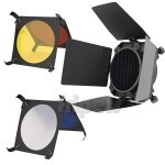 Barn doors, grid and filters FreePower for MR flash lamps